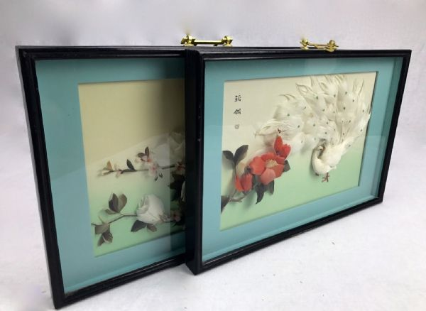 Chinese Vintage Feather Art Picture Pair / Signed / Framed / 1960's / Oriental
